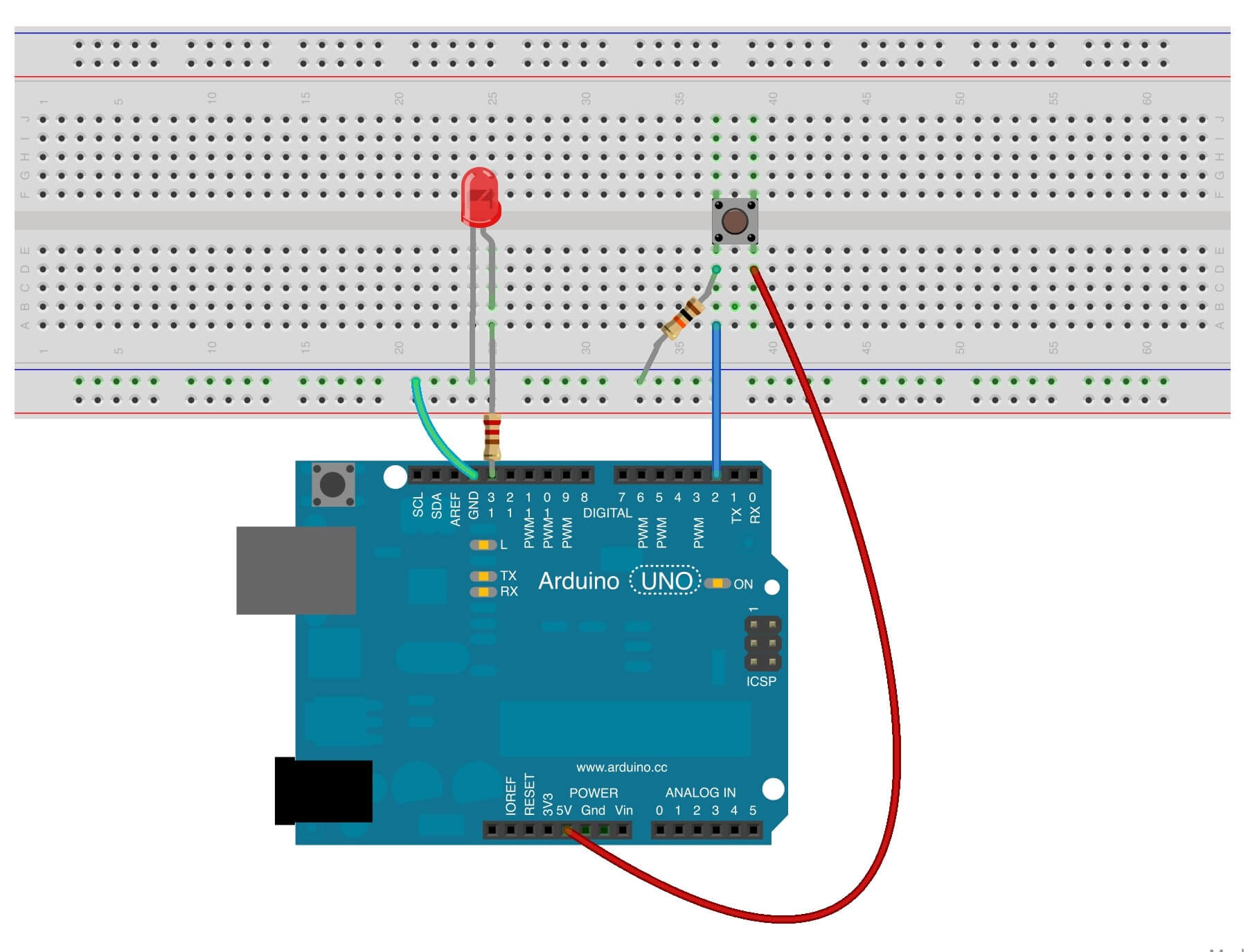 tutorial 17 using a button with arduino programming electronics rh programmingelectronics com connect a switch arduino arduino toggle switch wiring