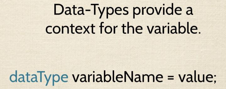 This is a picture of declaring a variable and data type syntax.