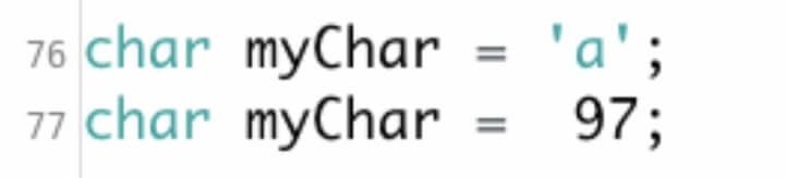 This is a picture of a character data type.