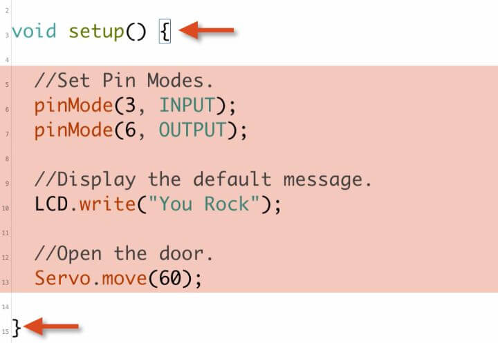 This is an example of a Setup function.