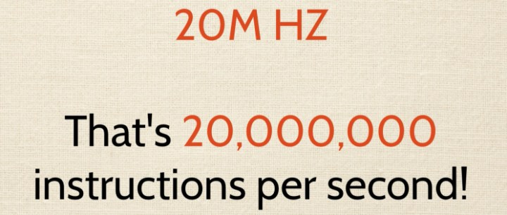 This shows how fast 2oMHz is.