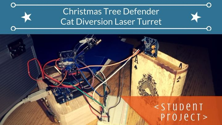 Christmas tree defender cat diversion laser turret with